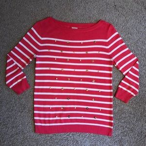 Women's j. Crew pink white striped sweater small